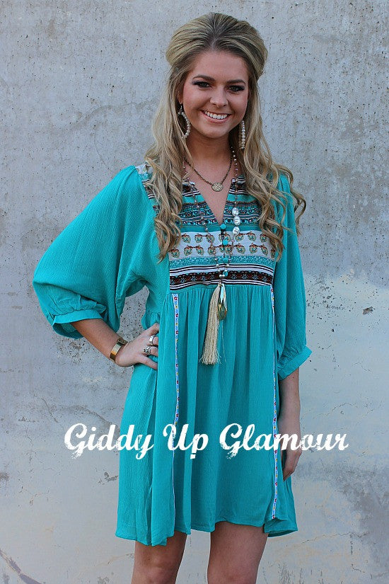 Some Time Ago Turquoise And Brown Peasant Dress Giddy Up