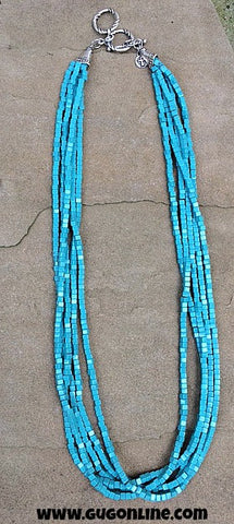 5 Long Strands of Turquoise Bead Necklace