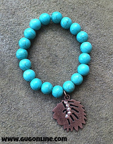 Copper Indian Chief on Turquoise Stretchy Bracelet