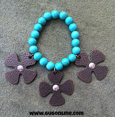 Three Copper Crosses on Turquoise Stretchy Bracelet