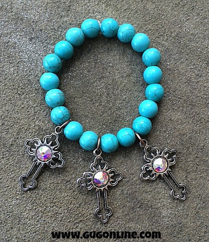 3 Silver Crosses on Turquoise Stretchy Bracelet