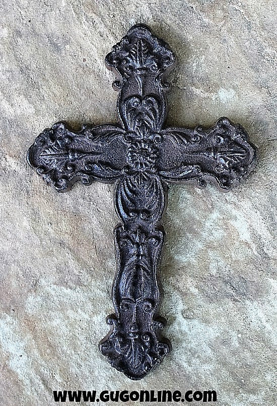 Cast Metal Wall Cross Slender Embellished