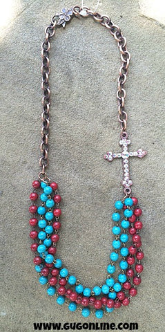 AB Stones on Copper Cross on Red and Turquoise Bead Necklace