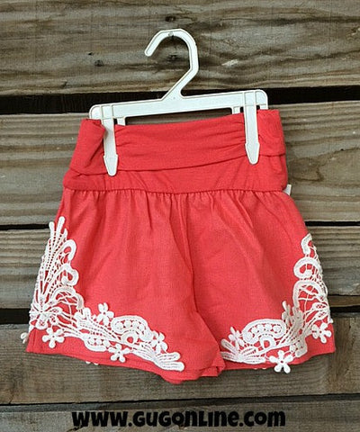 All About That Lace Linen Kid Shorts in Coral