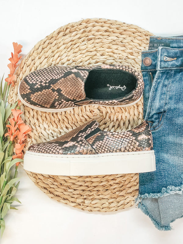 Truly Wild Step In Flatform Sneakers in Blush Snake
