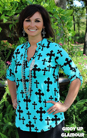 Amazing Grace Turquoise Top with Black Crosses