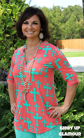Amazing Grace Coral Top with Mint Crosses