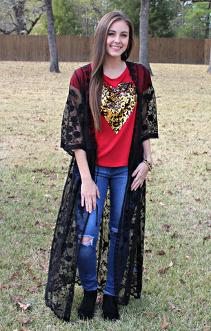 Do You Love Me Gold Sequin Heart Top in Red