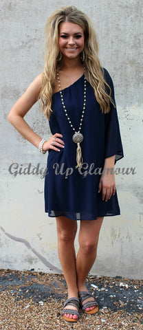 One Shoulder Wonder Dress in Navy Blue