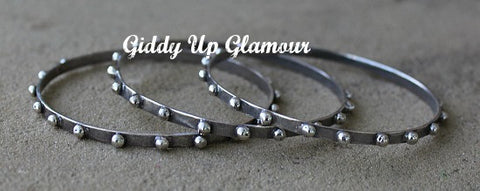 Set of 3 Silver Stud Bangles