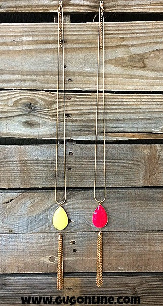 Long Gold Chain with Reversible Neon Pink or Neon Yellow Stone and Gold Tassel Necklace