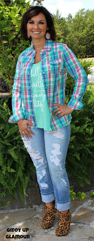 Everything You Need Plaid Pearl Snap in Turquoise