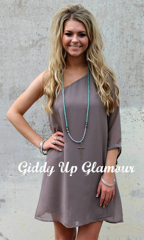 One Shoulder Wonder Dress Taupe
