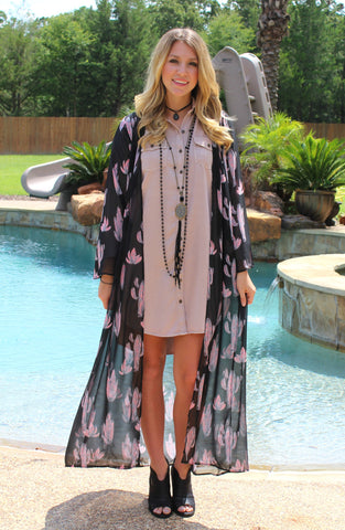 Until Further Notice Pink Cactus Sheer Duster
