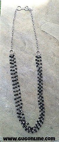 Three Strands of Black Crystals and Silver Chain Necklace