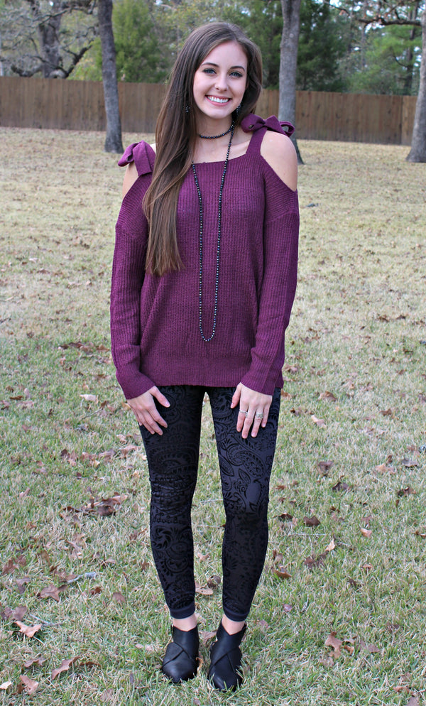 All Spruced Up Velvet Paisley Leggings in Charcoal