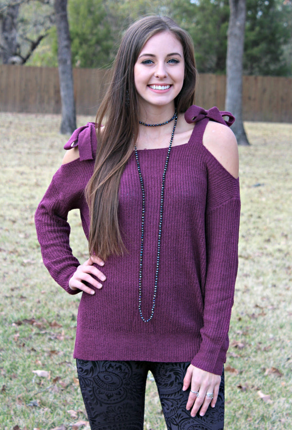 Charming Encounter Cold Shoulder Cable Sweater with Shoulder Ties in Plum