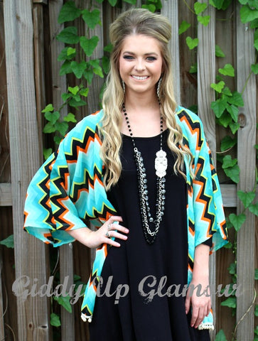 Cover Me Up Chevron Kimono with Pom Pom Trim in Turquoise, Black and Orange