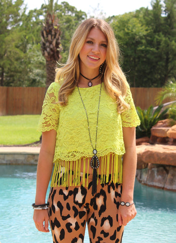 Get Jiggy With It Neon Charteuse Yellow Lace Fringe Top