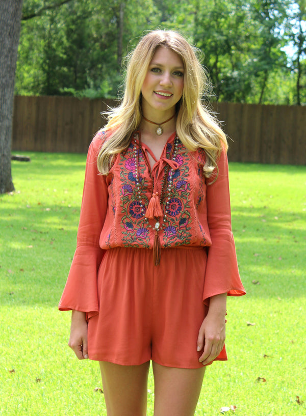 Make Way Floral Embroidery Romper in Rust Orange