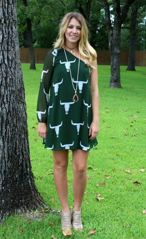Be Fearless One Shoulder Bull Skull Dress in Green