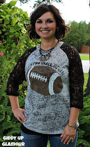 It's Football Y'all Grey Baseball Tee with Black Lace Sleeves