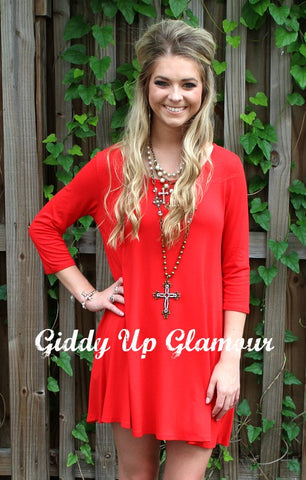 Go With The Flow Solid Dress in Red