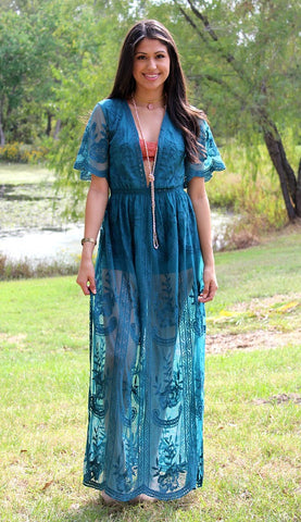 New Romantics Lace Romper in Teal Blue
