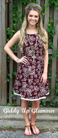 At This Moment Maroon and Ivory Floral Dress