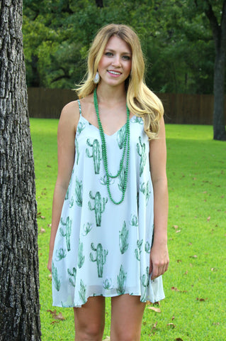 Take Me to Tucson Cactus Print Dress in Grey