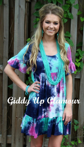 Adults: All Mixed Up Tie Dye Babydoll Tunic Dress
