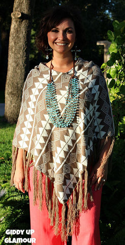 Carried Away Poncho in Brown Aztec
