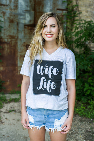 Wife Life Grey Short Sleeve Tee Shirt