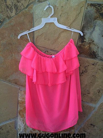Ruffle Me Up Sheer Tube Top in Neon Pink
