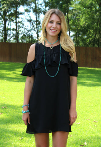 Chic Chick Open Shoulder Ruffle Dress in Black
