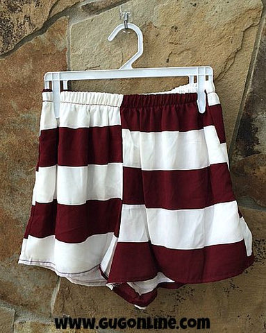 Doing Something Right Maroon and White Stripe Shorts