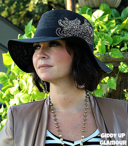 Black Panama Fedora with Black, Silver and Copper Bead Detailing
