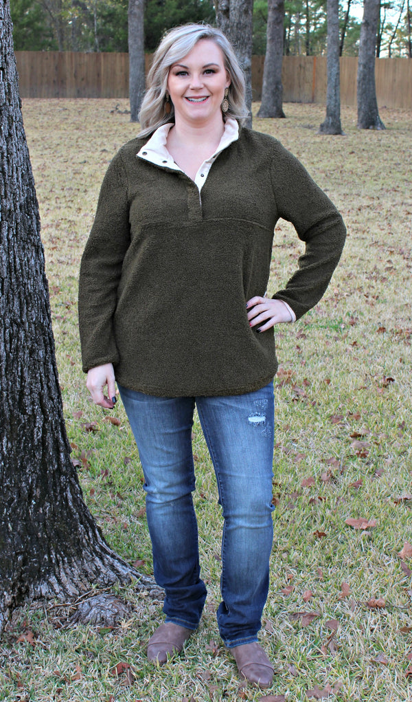 Oh So Cozy Pullover in Olive Green