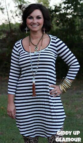 Too Chic To Quit Navy Blue and White Stripe Tunic Dress