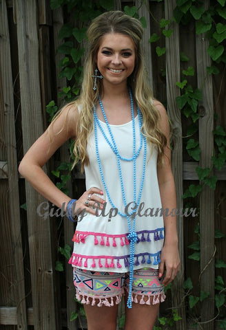 Over the Rainbow Tank with Colorful Tassel Trim in White