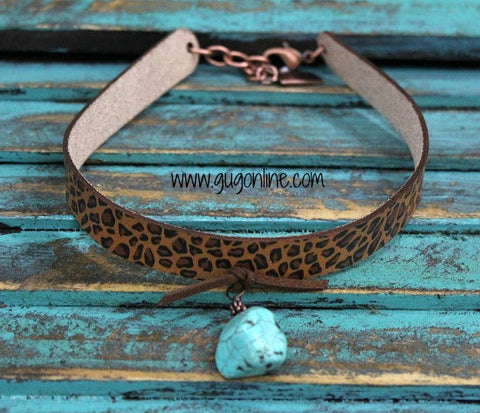 Cheetah Choker with Turquoise Nugget