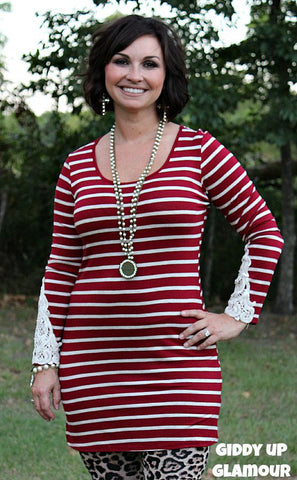 All In The Details Maroon Stripe Dress with Crochet Detailing