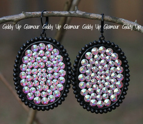 Pink Panache Black Matte Oval Earrings with Solid Crystals in AB