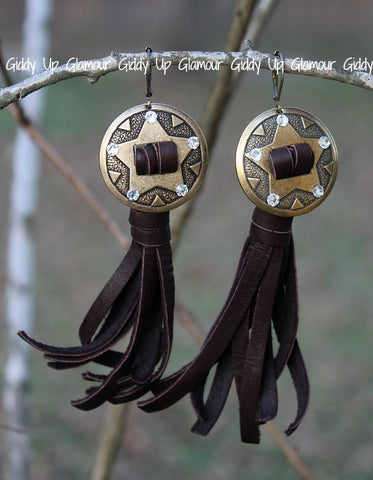 Pink Panache Bronze Star Concho Earrings with Clear Crystals and Chocolate Brown Leather Tassel