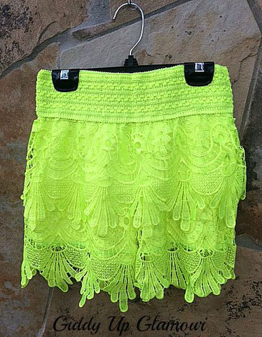 Neon Lights, Neon Bright Lace Crochet Shorts