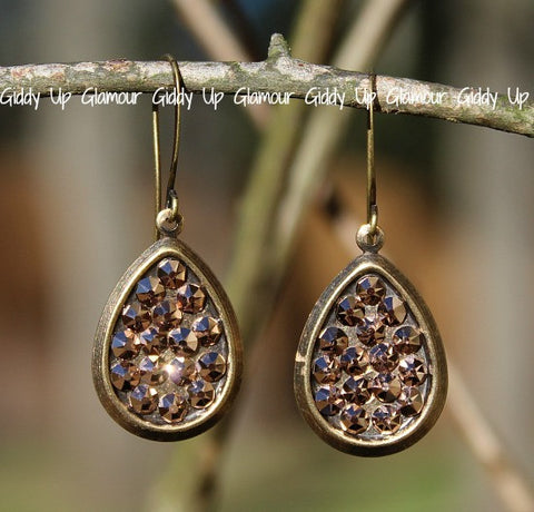 Pink Panache Small Rose Gold Crystal Teardrops