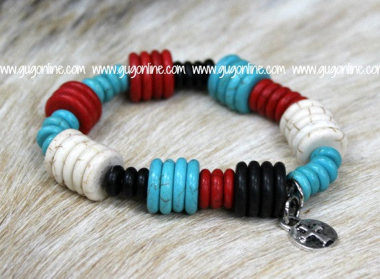 Red, Turquoise, White and Black Disk Bead Bracelet