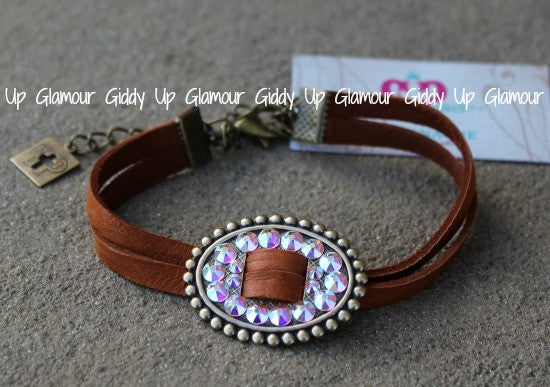 Pink Panache Tan Leather Double Strand Bracelet with AB Crystal Oval