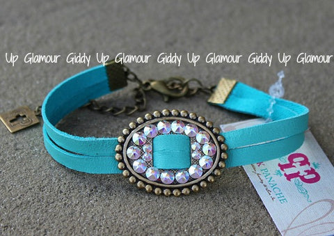 Pink Panache Turquoise Leather Double Strand Bracelet with AB Crystal Oval