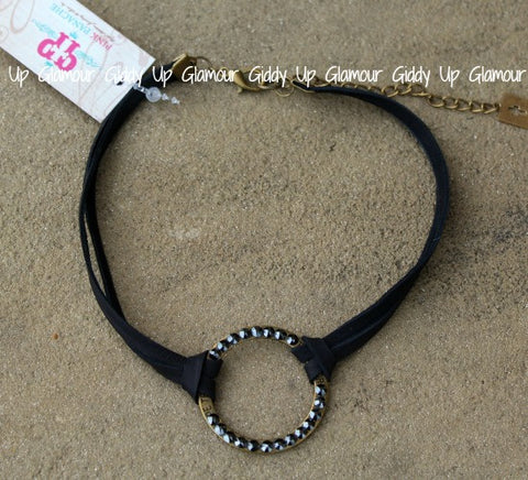 Pink Panache Black Leather Double Strand Choker Necklace with Black Crystal Open Circle